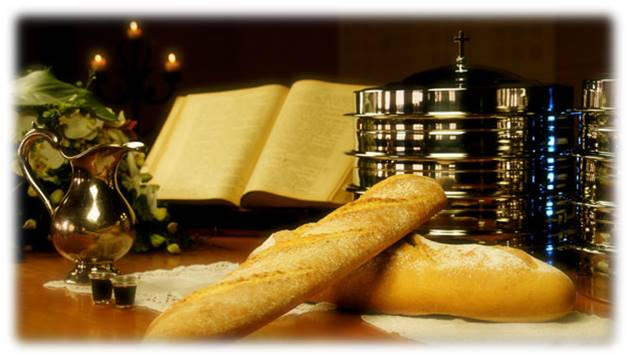 Communion - bread and trays